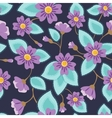 Flowers pattern vintage on blue vector image