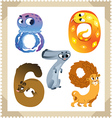 Cartoon animals numbers set with white bacground vector image vector image