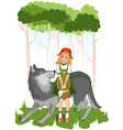 Little red riding hood with wolf vector image vector image