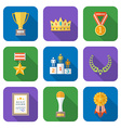 flat style colored various awards symbols icons vector image