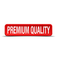 premium quality red 3d square button isolated on vector image