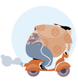 fun vespa delivery man in asian style vector image vector image