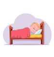 cute cartoon boy sleep in bed good dream rest vector image