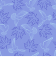 Seamless pattern with pigeons and leaves vector image