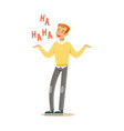 happy young redhead man in an yellow pullover vector image