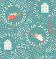 Seamless pattern with Christmas angels and homes vector image vector image