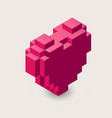 3d pixel heart icon vector image