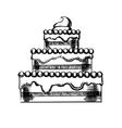 Sketch of a big pie with cream vector image vector image