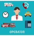Dispatcher or operator profession icons vector image