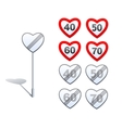 Heart shape road signs - limits and vector image