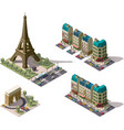 isometric Paris architecture elements vector image