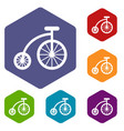children bicycle icons set vector image