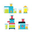 juicer mixer blender kitchen colorful appliance vector image