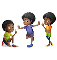 Three african american kids vector image