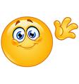 Waving hello emoticon vector image