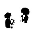 woman singing silhouette set vector image