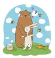 lovely cartoon bear and hare a pot of honey vector image