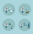modern robot icon set futuristic artificial vector image