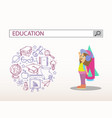 little girl with rocket and education search vector image