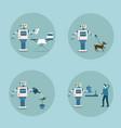 modern robot icon set futuristic artificial vector image