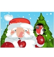 Santa Claus with bird and Christmas on background vector image
