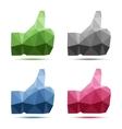 Set of geometric polygonal thumb up icons vector image