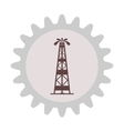Silhouette of oil fountain in gear vector image