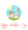 Singing cat Happy Valentines Day vector image