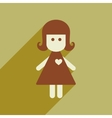 Flat web icon with long shadow girl vector image