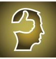 Mans head with thumbs up vector image vector image
