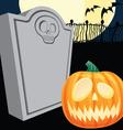 Halloween Tombstone and Jacko Lantern vector image