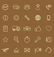 Customer service line color icons on brown vector image