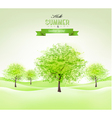 Summer background with green trees vector image