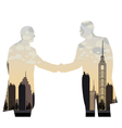 double exposure handshake businessman on city vector image