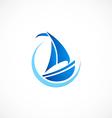 sailing boat yacht abstract logo vector image