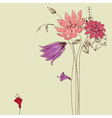 Flowers bouquet floral greeting card vector image