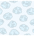 Seamless pattern with funny cartoon clouds on blue vector image