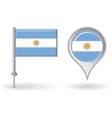 Argentinean pin icon and map pointer flag vector image