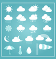 Basic Weather Icons on Blue Background vector image
