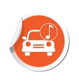 car with music icon orange label vector image