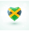 Flag of Jamaica in shape diamond glass heart vector image