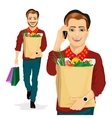hipster man carrying grocery paper bag vector image