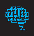 human brain icon on black background vector image