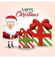 merry christmas card santa claus and gift big vector image