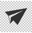 Paper airplane sign Dark gray icon on transparent vector image