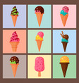 sweet cartoon cold ice cream cards set tasty vector image