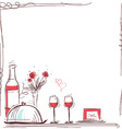 Valentin card with wine and food for lovers vector image
