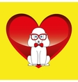 big poodle sitting with red glasses vector image