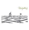 Hand drawn man walking on maze to navigation flag vector image