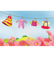 A garden with hanging clothes for the baby vector image